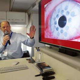 Dr. Roberto Pineda training local eye doctors on the Flying Eye Hospital in Chittagong, Bangladesh