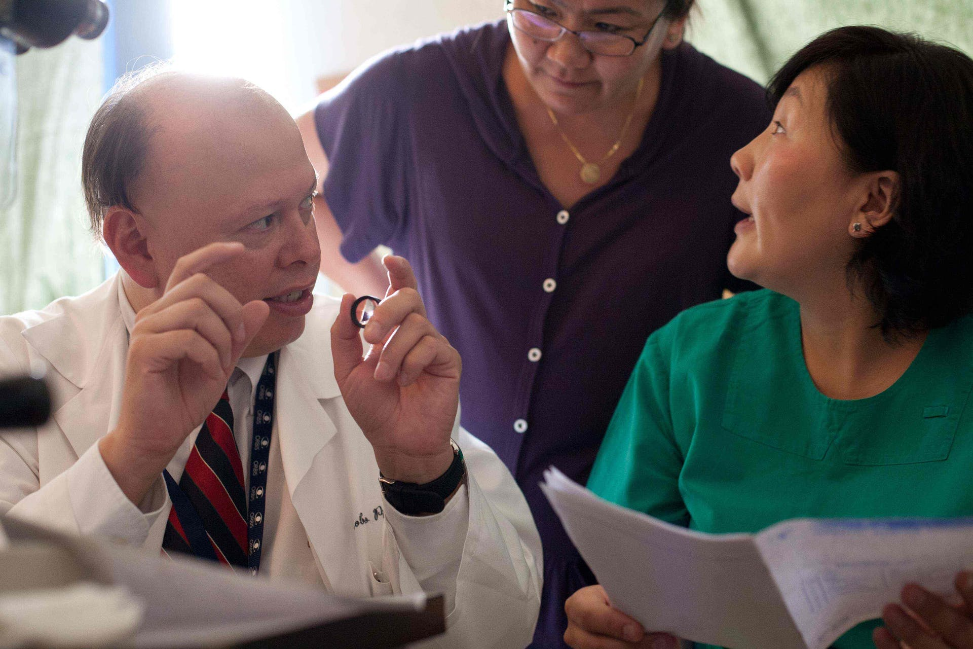 Dr. Roberto Pineda training eye care teams during a project in Mongolia