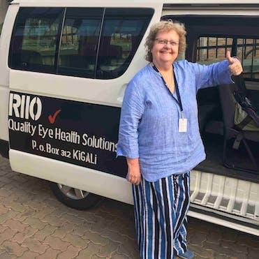 Dr. Rosalind Stevens pictured outside the Rwanda International Institute of Ophthalmology van