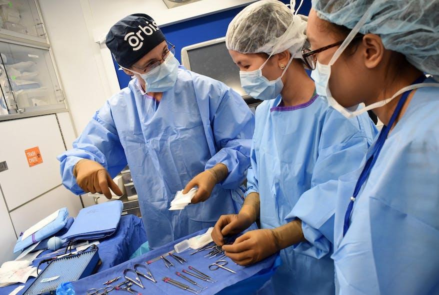 Jackie Newton teaches nurses on board the Flying Eye Hospital in Vietnam