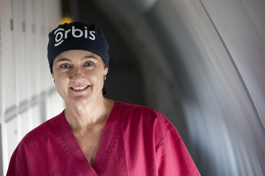 Jackie Newton on board the Flying Eye Hospital in Mongolia