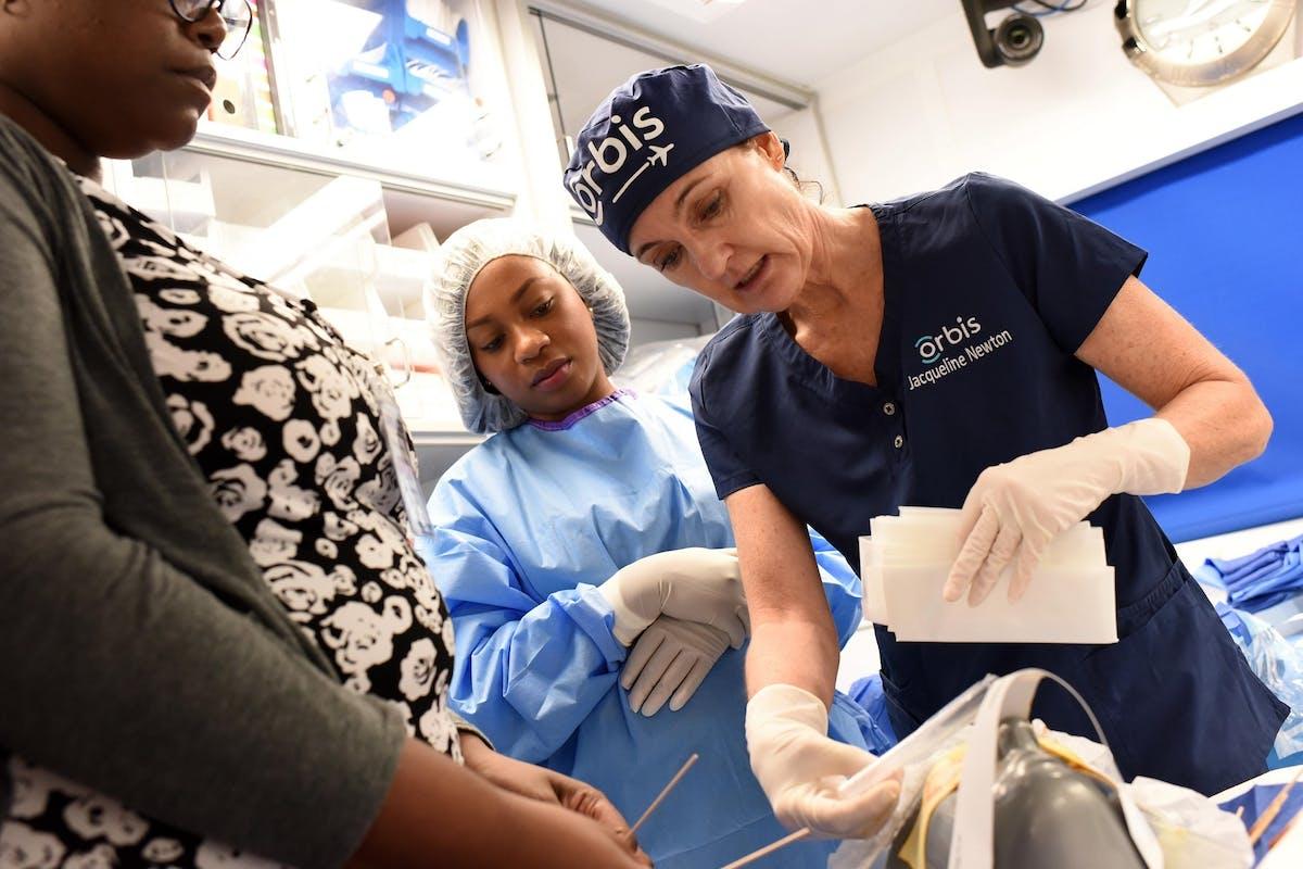 Jackie Newton training nurses on board the Flying Eye Hospital in Jamaica