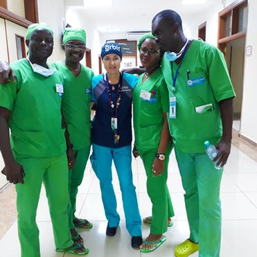 Jackie Newton pictured with nurse Wilson, who she mentors, at one of our partner hospitals in Cameroon