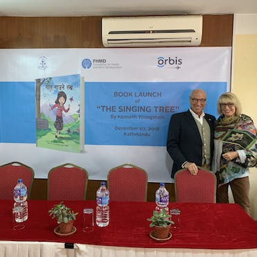 Ken and Ingrid Youngstein at the launch of The Singing Tree in Nepal