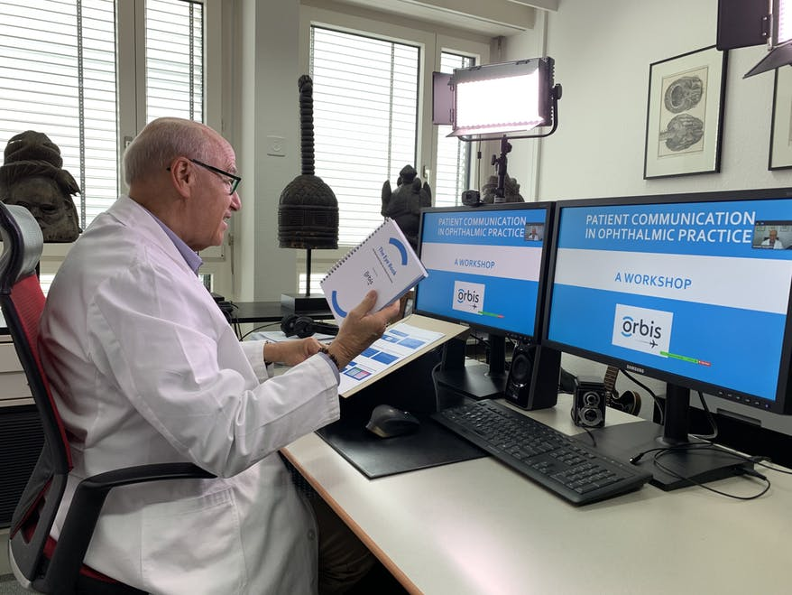 Ken Youngstein delivers a virtual training session on patient communication using Cybersight