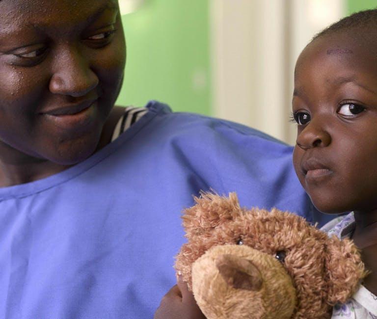 Squint patient Hakeema with her mom in Ghana