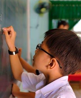 Vietnam 2018 C Louis Leeson Binh Dinh Khang M 6Yrs Strab N Ptosis School Portrait Writing On Board