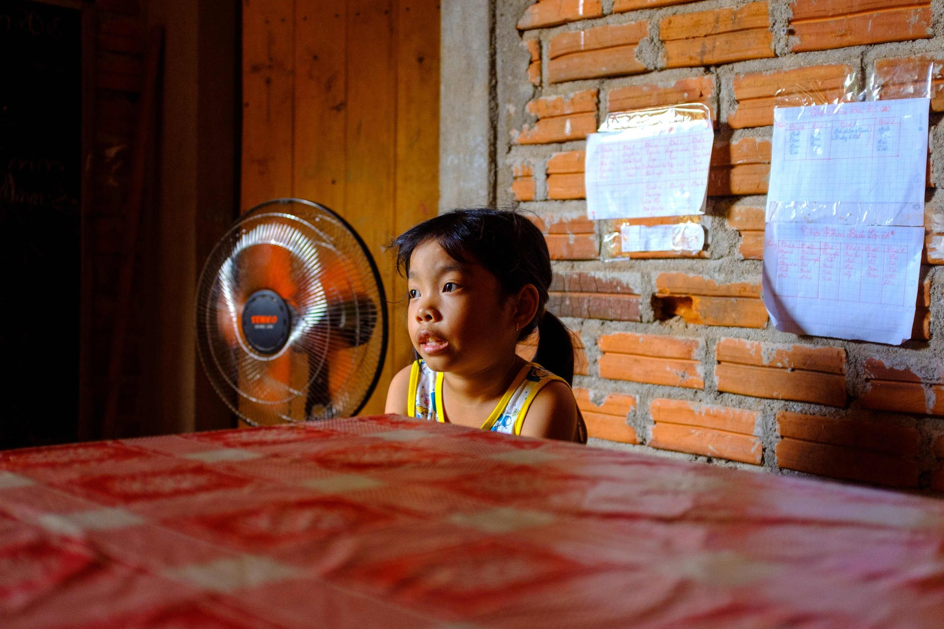 8-year-old strabismus patient Phuong from Vietnam at home following treatment