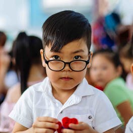Cataract patient Tam, 5 years, is thriving at school again following pediatric eye surgery
