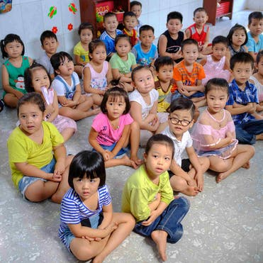 Cataract patient Tam's classroom at school. three million children who are visually impaired and 23,000
