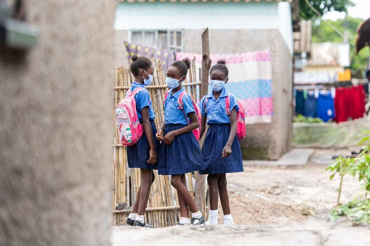 Shekaina Mildith and Stephanie are pictured here going to school in Mufurila, Zambia
