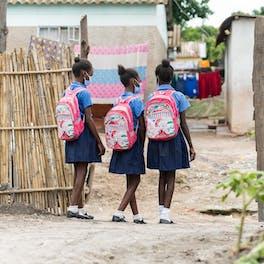 Shekaina Mildith and Stephanie on their way to school