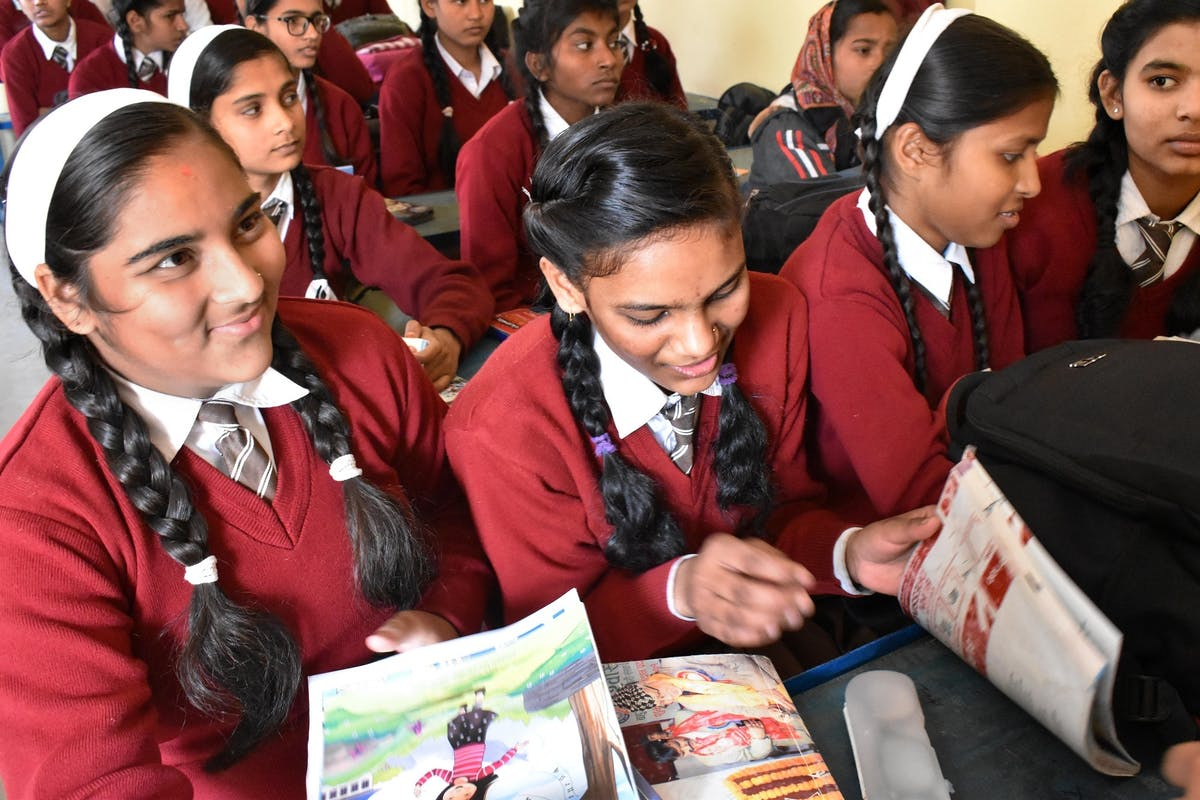School children in Nepal enjoy reading The Singing Tree during class