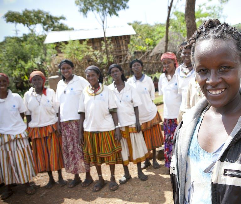Smiling women in Ethiopian village.